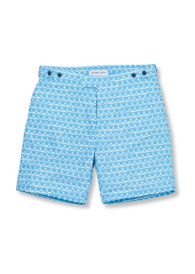 Buttoned bermuda type shorts in a blue pattern - PLANALTO TAILORED LONG WATER BLUE