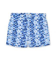 Пляжные шорты с бело-синим принтом - SAMBA TAILORED SHORT SKY BLUE