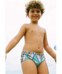 Boy swim trunks in geometric print - ARMY BARLAVENTO