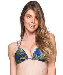 Tropical colorful double strap triangle top - TOP FIXO ARARA AZUL