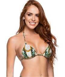 Padded sliding triangle top in green print - TOP CORTINAO PAQUETARIA