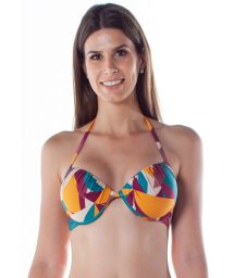Colorful print balconette bikini top with underwire - TOP DRAPE TURBINADO RAMA
