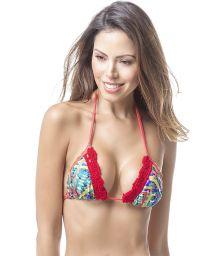 Printed bikini top with red crochet - TOP MAR CULTURAL