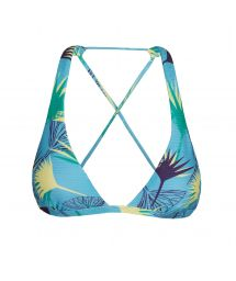 Floral graphic print crossover triangle halter top - TOP FLOWER GEOMETRIC CORTINAO
