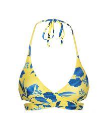 Yellow and blue print wrap bikini top - TOP LEMON FLOWER TRANSPASSADO
