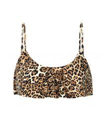 Ruffled leopard print bra bikini top - TOP LEOPARDO BABADO