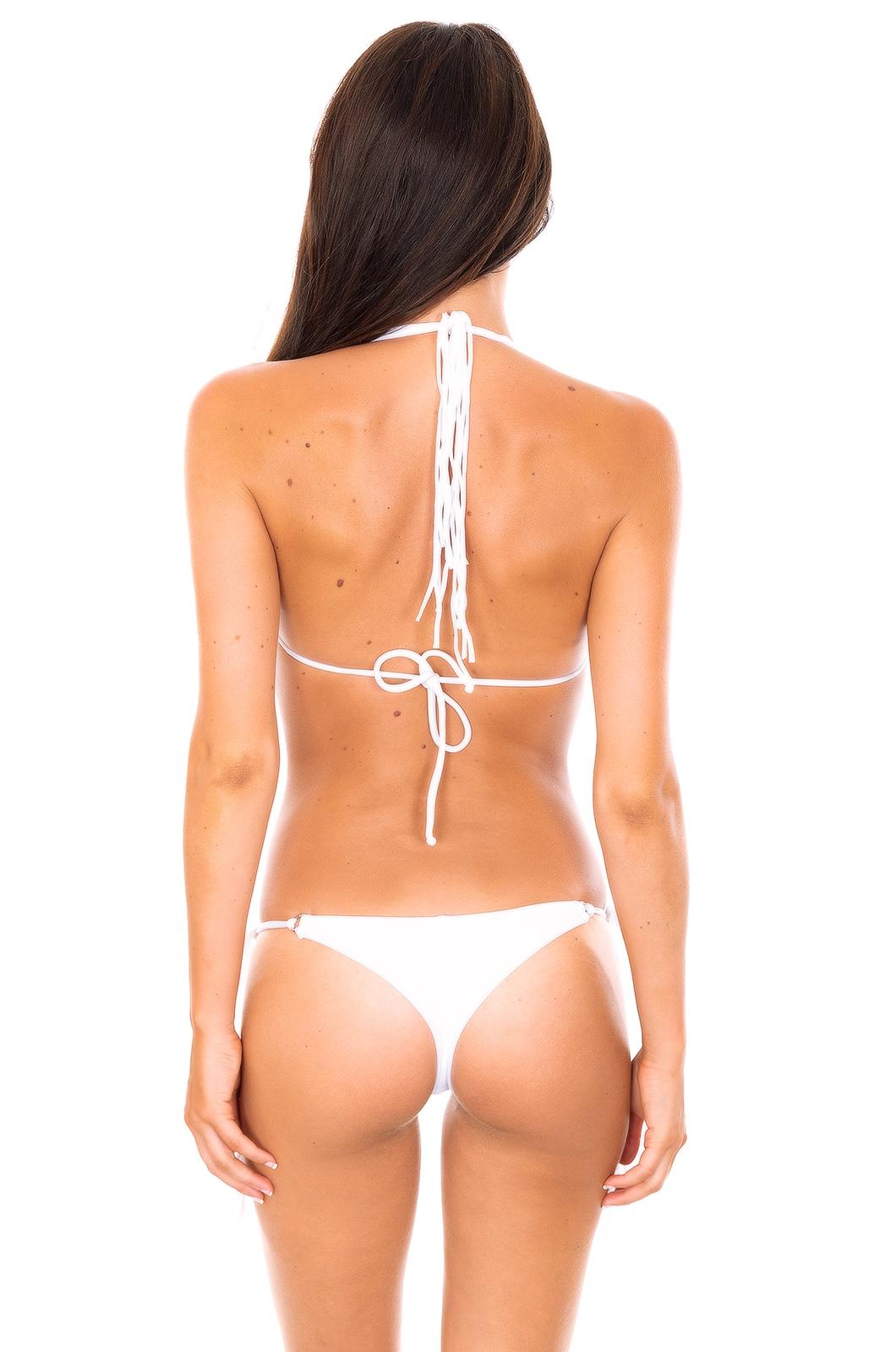 bikini ze stringami bia e z d ugimi fr dzlami   franja branco fio